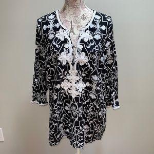 Charter Club Linen Black White XL Blouse